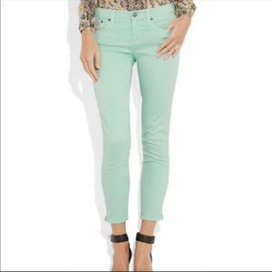 J. Crew Mint Green Toothpick Ankle Jeans 31